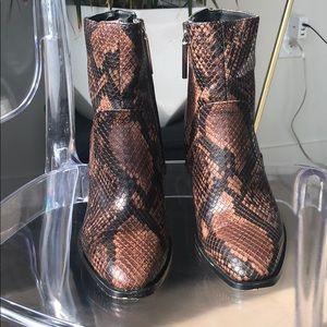 Snakeskin print booties